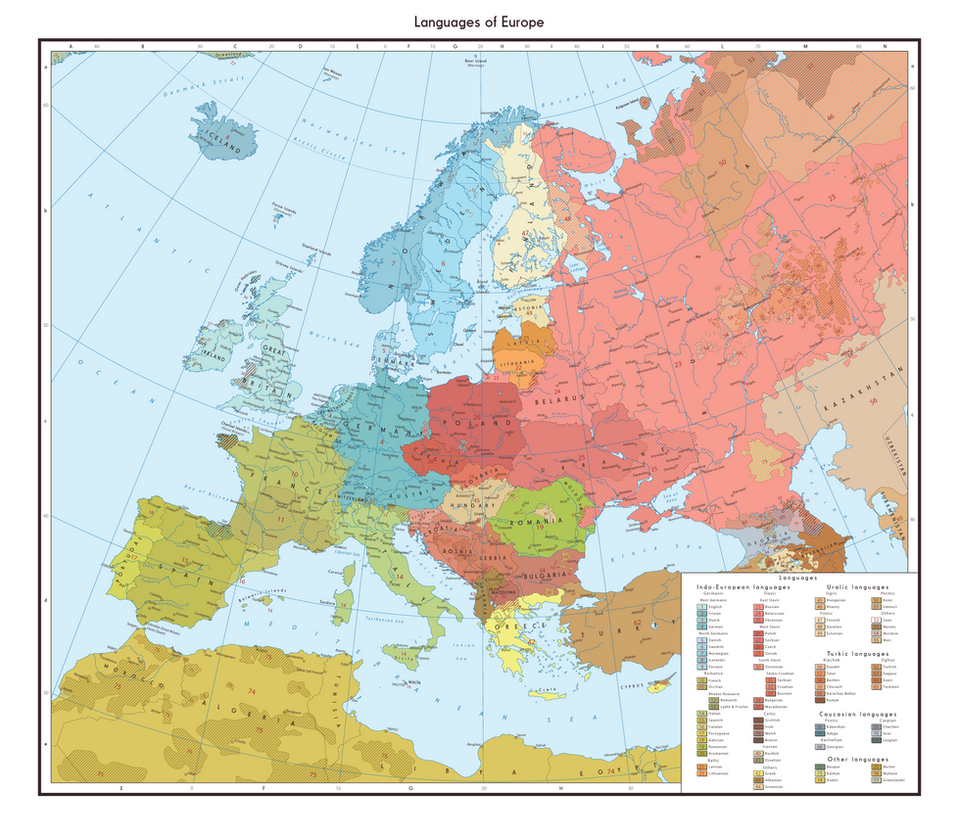 Linguistic map of Euro...