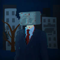 TV-head man in a suit