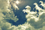 horses clouds
