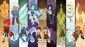 Comm - Elemental Gods Backgrounds by Rhay-Robotnik