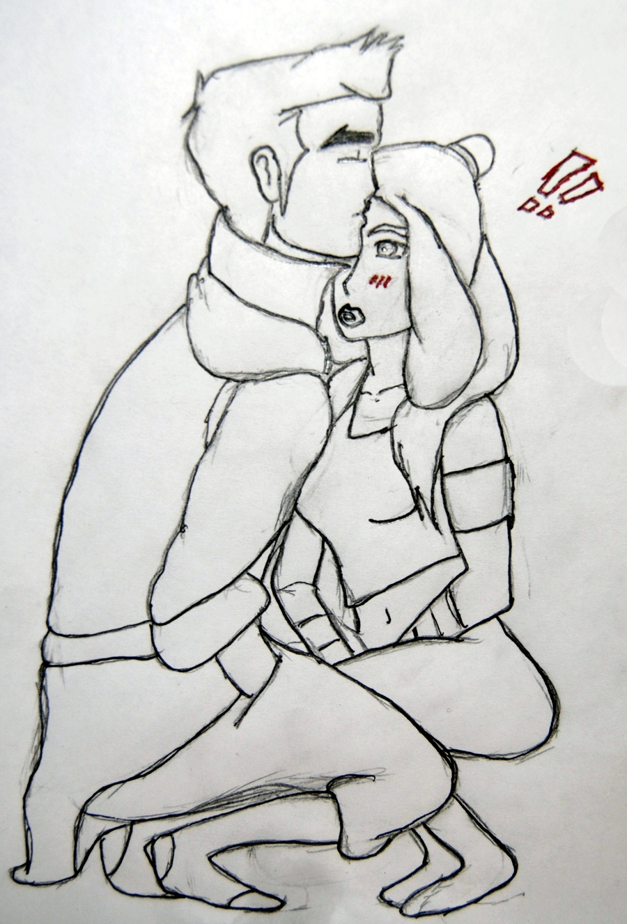 Kiss on forehead sketch