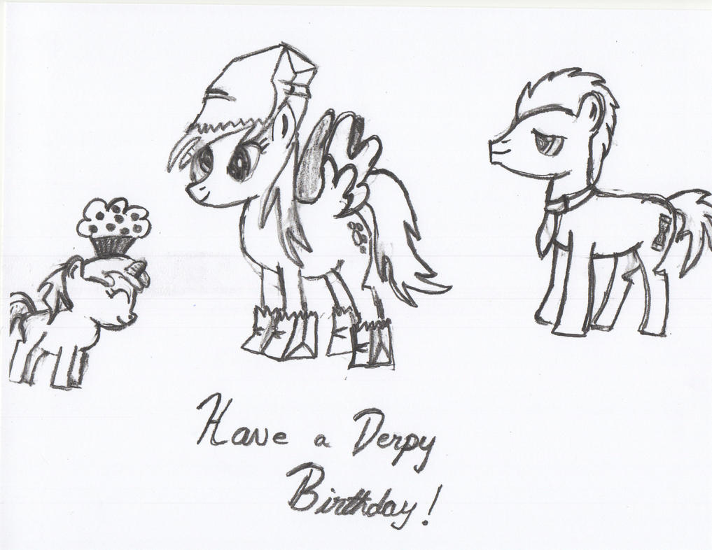 Birthday Sketch (Dinky, Derpy, Doctor Whooves) by archaephyrryx