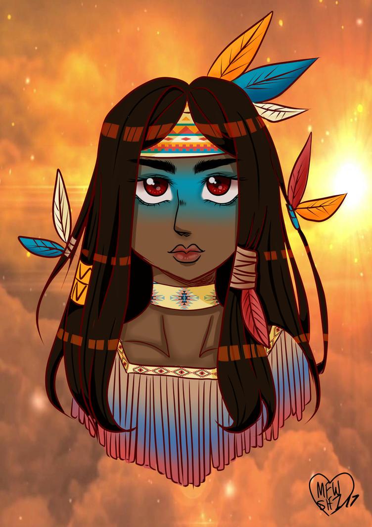 native American girl by Mewshiii