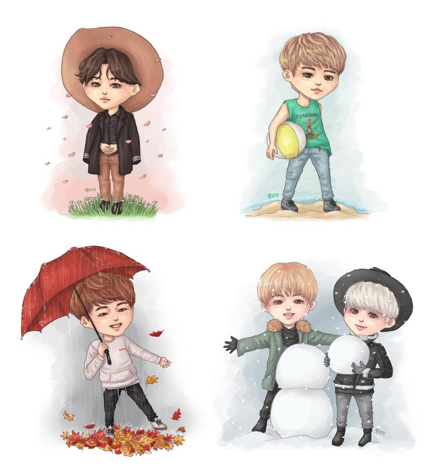 4 seasons SHINee by blingyeol