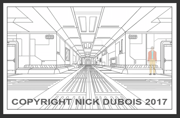 HS Undeground Base Coridoor Copyright Nick DuBois  by NDuBdesigns