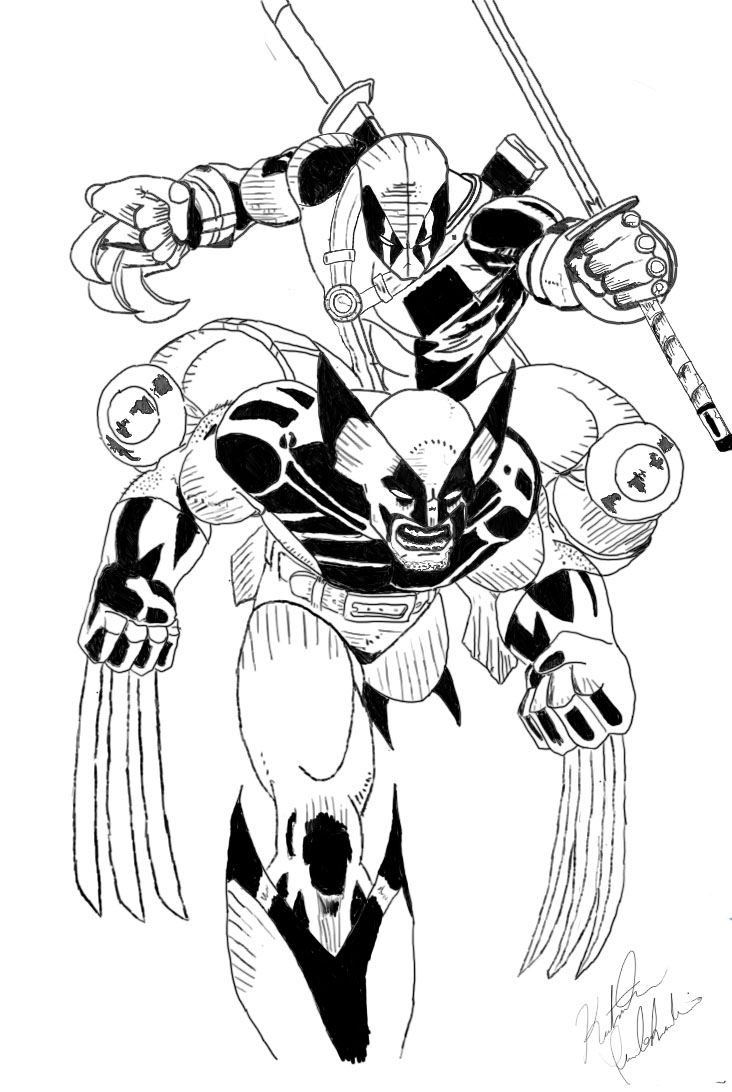 wolverine vs deadpool drawing coloring coloring pages