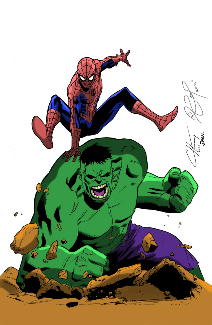 the hulk and spiderman by chewydraws