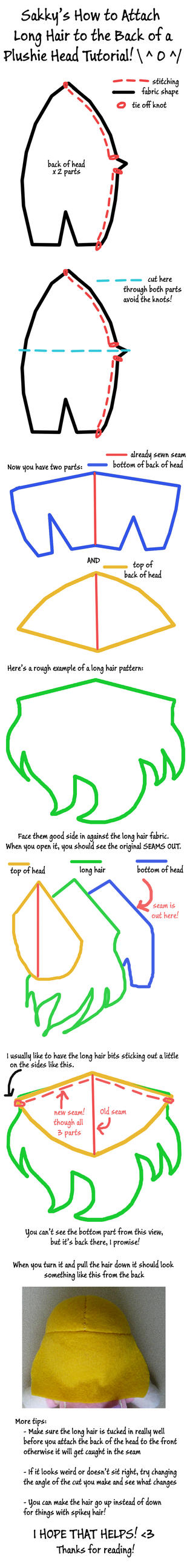 Attaching Long Hair to a Plush Head Tutorial by SarahsPlushNStuff