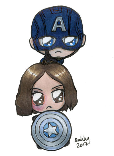 Bucky and Captain America Chibi by SarahsPlushNStuff
