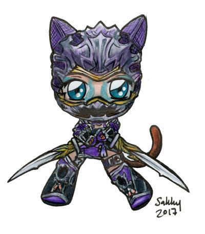 venomiel ff14 miqo te ninja job armor chibi by sarahsplushnstuff
