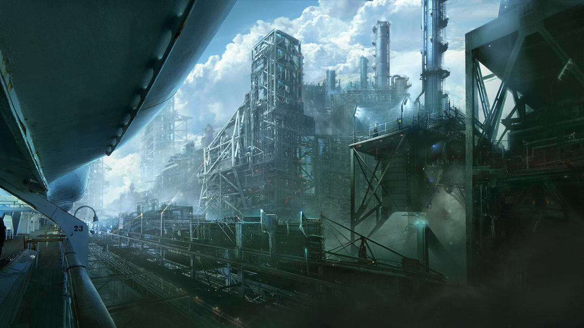 Industrial skyship cove by Saruman-sLP
