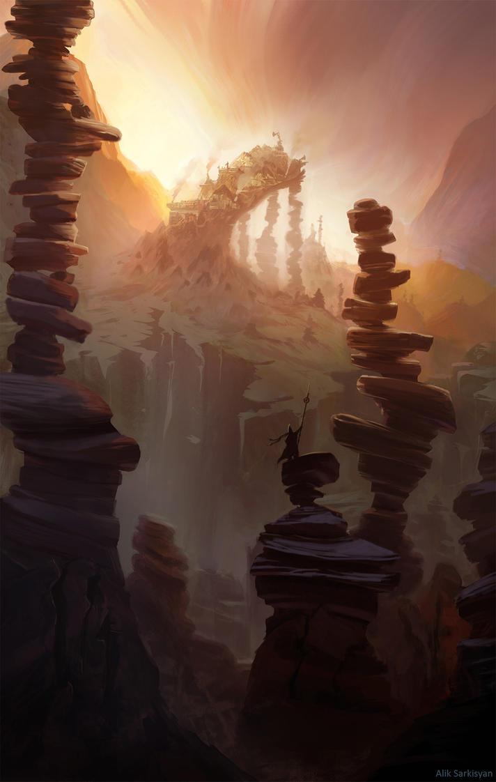 Stone pillars valley by Saruman-sLP