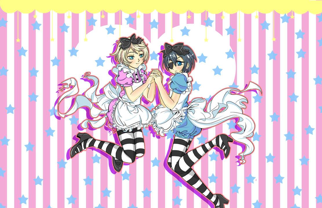 Kuroshitsuji- Ciel x Alois in Wonderland by BlackRoseMikage