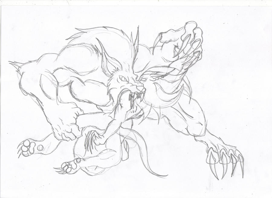 Drawings of werewolves fighting
