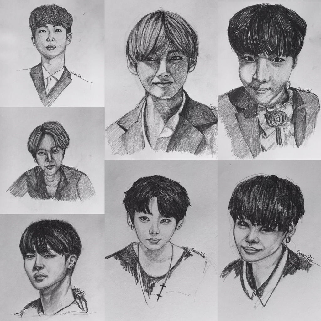how to draw bts members easy