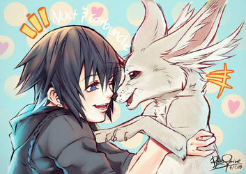 Noct and Carbuncle by Rain-Strive