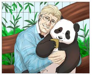 [L:AW]: Goodest boi gets to hug a panda
