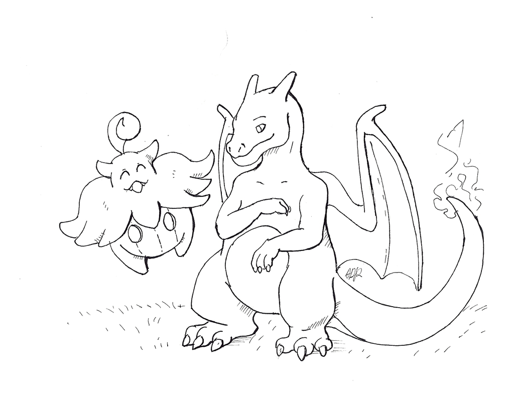 Inktober Day 1: Charizard and Pumpkaboo by brightcat13527