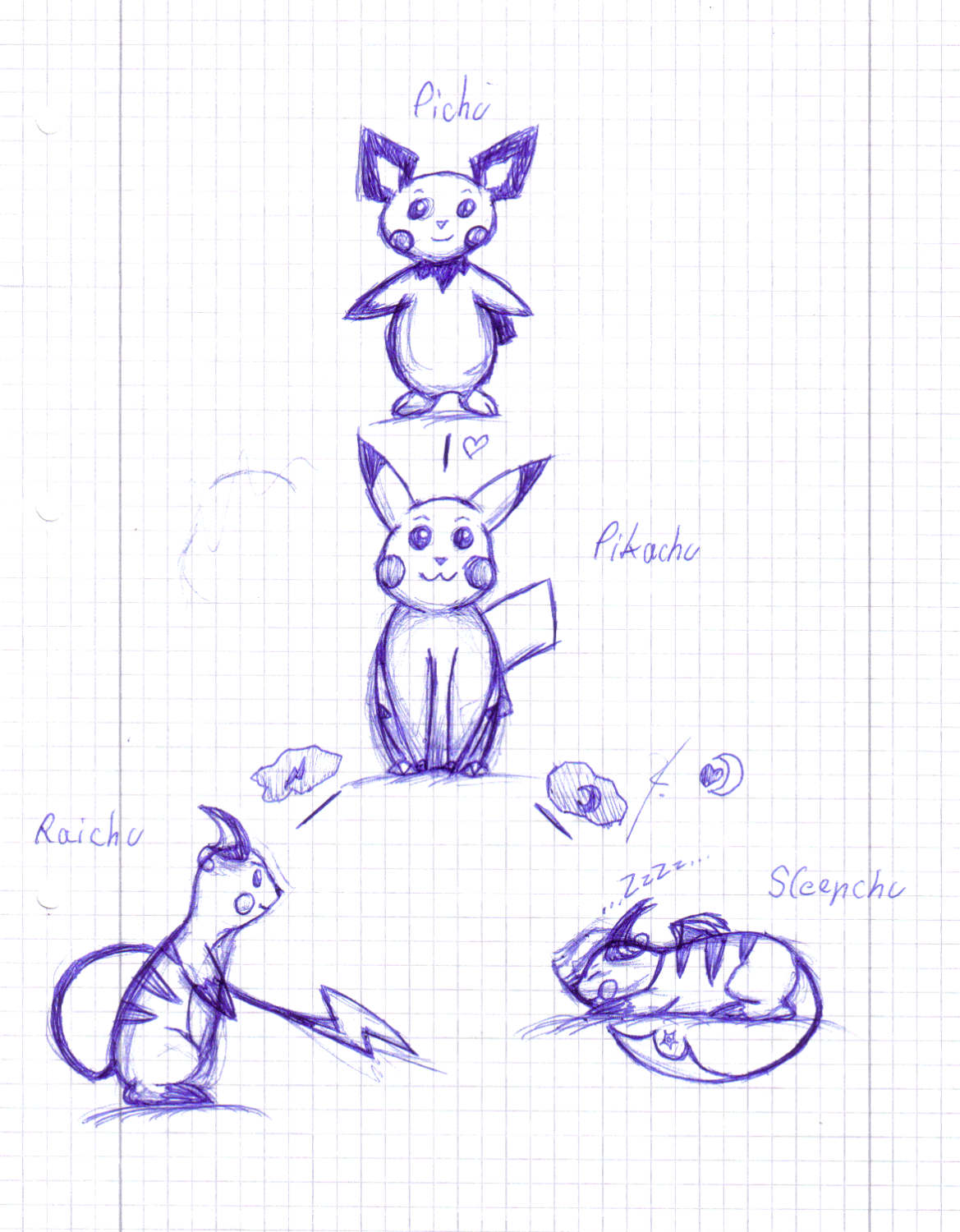 Pichu and evolutions