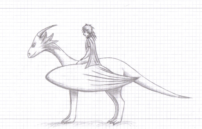 Yumio riding on a dragon