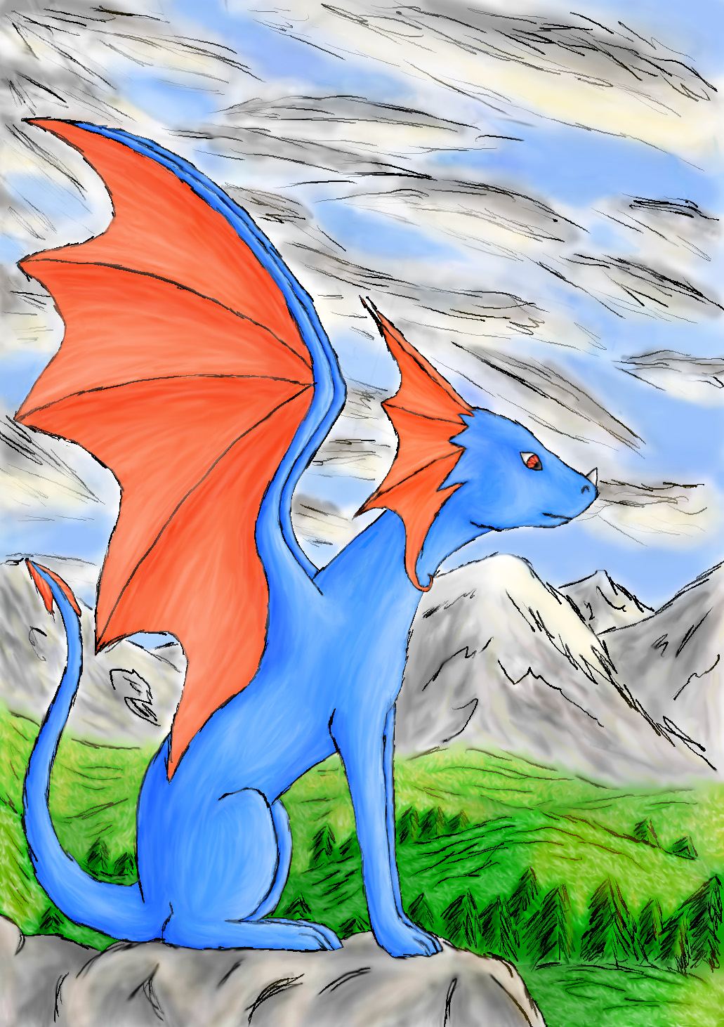 Sitting dragon - PC Colored