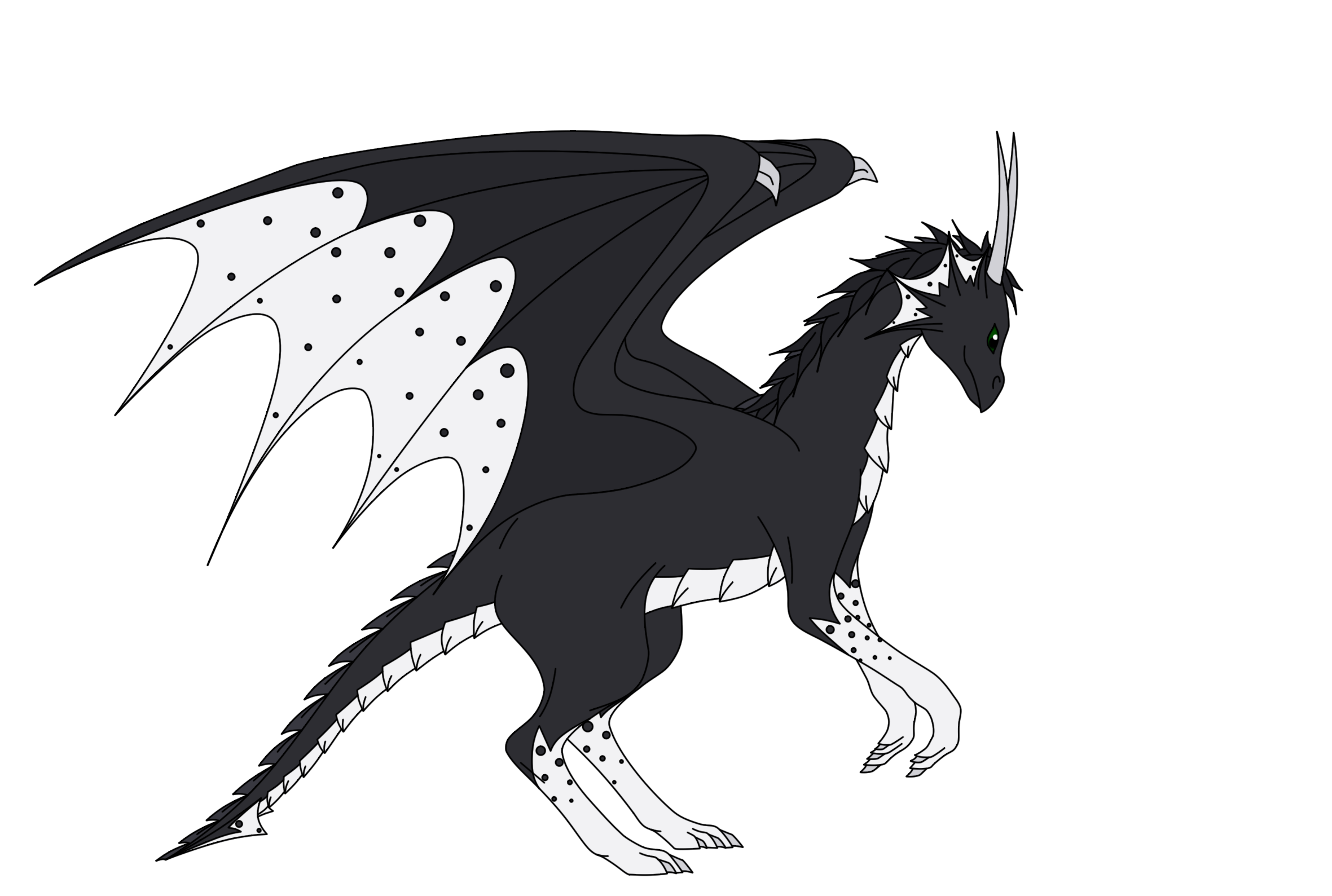 Dragon with mane and dots 2