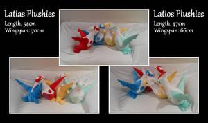 Latias and Latios Plushies