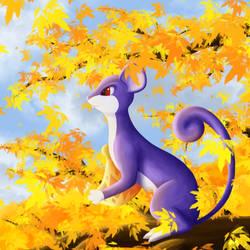 Rattata on an autumn tree