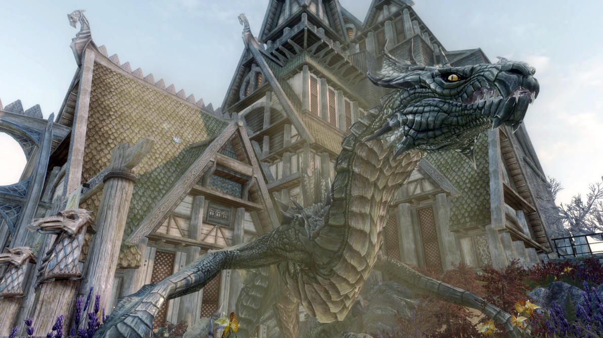 Skyrim dragon battles by Lathspellbadnews
