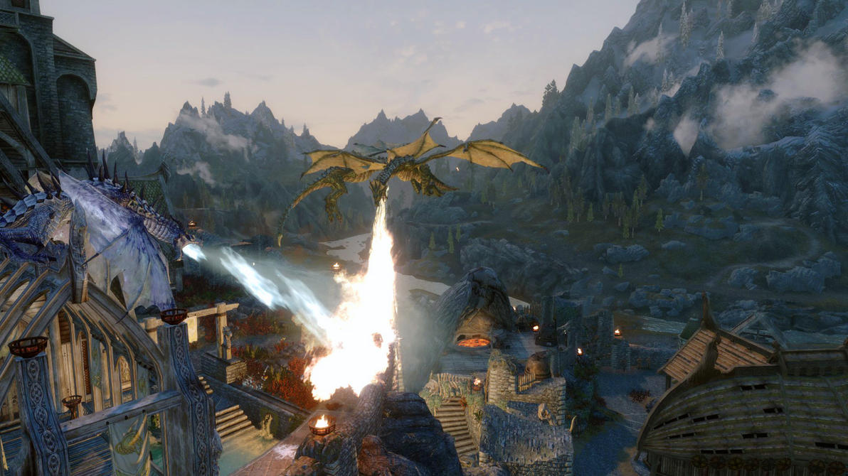 Skyrim dragon battles by Lathspellbadnews
