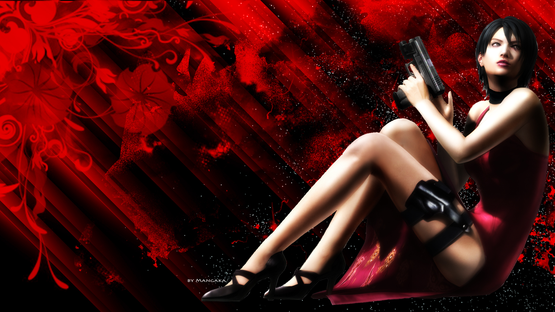 Ada wong red wallpaper by lazymanga ka on deviantart for Deviantart wallpaper