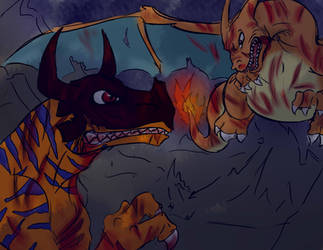 Charizard VS Greymon by rubymight