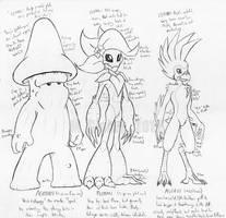 Starbound - Agaran, Floran, Avian body sketches