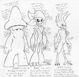 Starbound - Agaran, Floran, Avian body sketches by MSipher