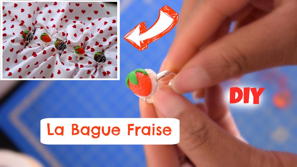 DIY Strawberry ring // Polymer clay tutorial by Manilaicee