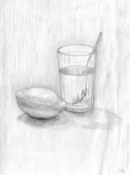 A lemon and a glass