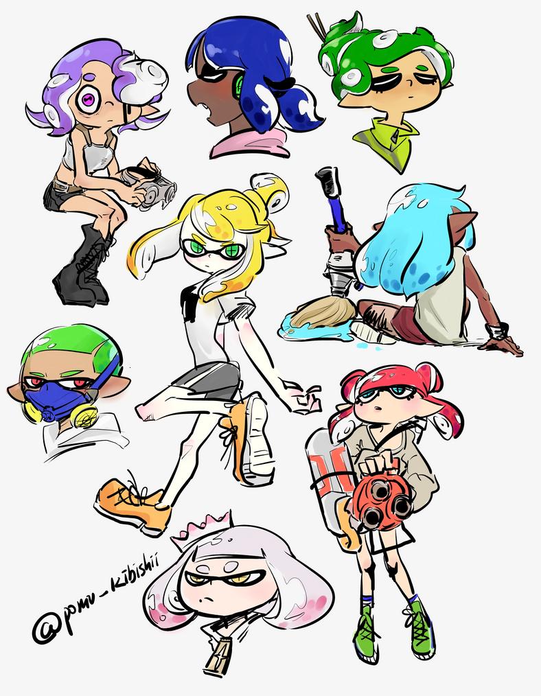 Doodles (squids, kids, octos) by PandaHero-Peke