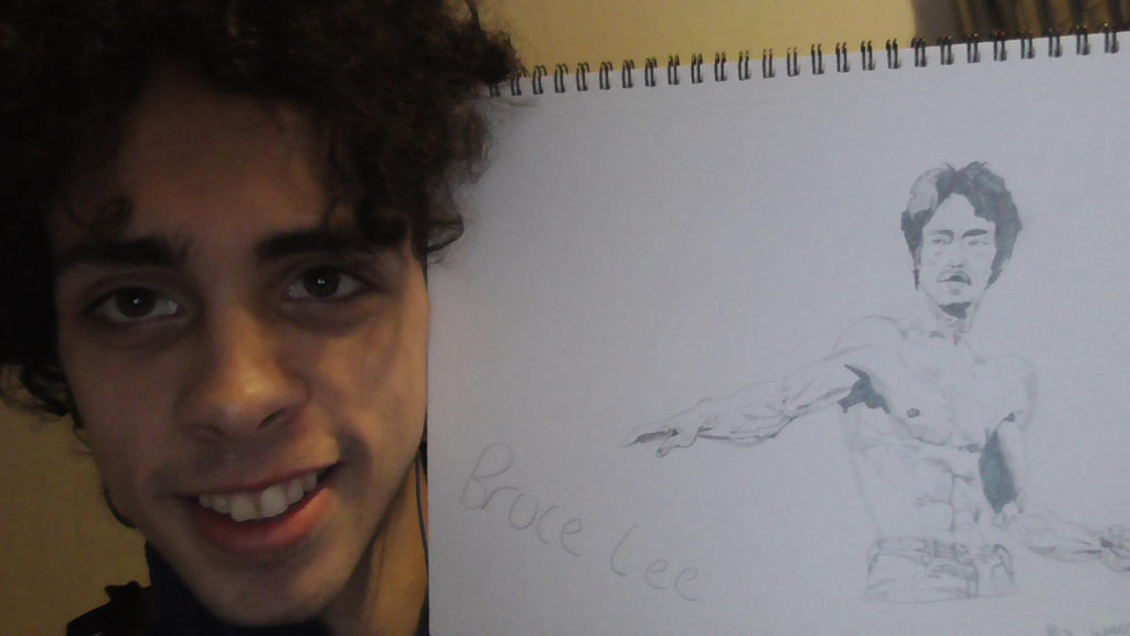 Me With my drawing of Bruce Lee by wes2323