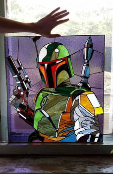 Boba Fett stain glass panel