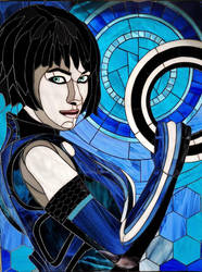 Stained glass picture Quorra From TRON Legacy
