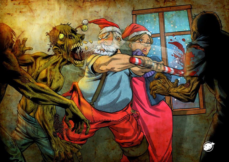santa against zombies by WakaBee 45 Awesome Apocalyptic Zombie Artworks