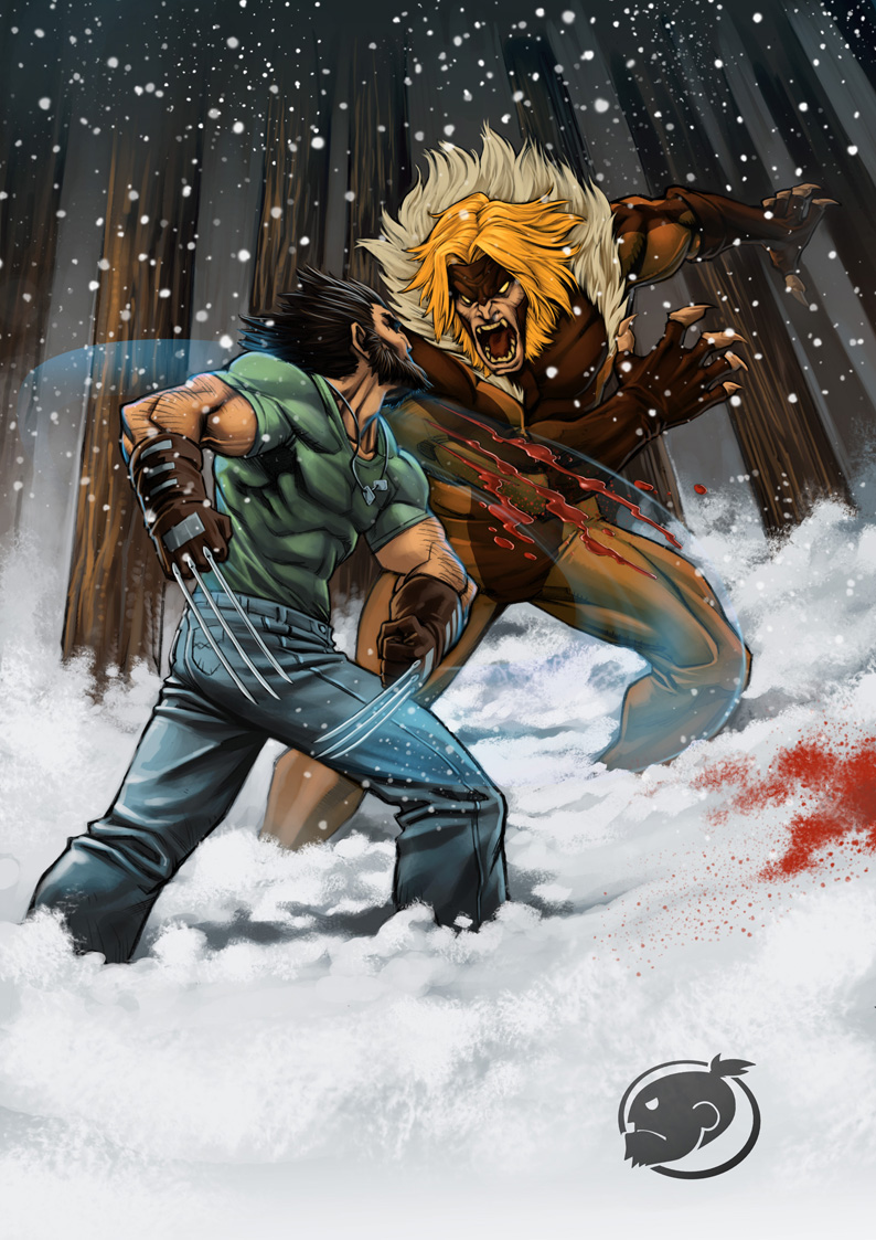 logan vs  sabretooth by estivador