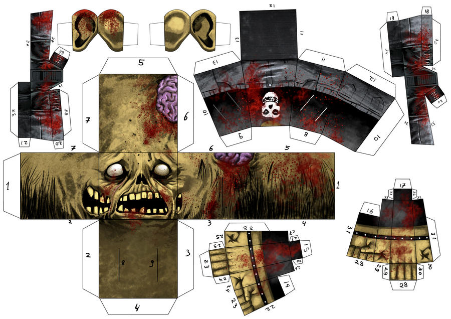 Zombie Paper Toy by estivador