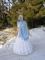 White Gown Blue Scarf 1 by Eirian-stock