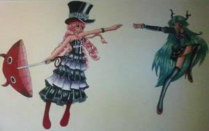 Perona and Miku in wall by miyukiZETA