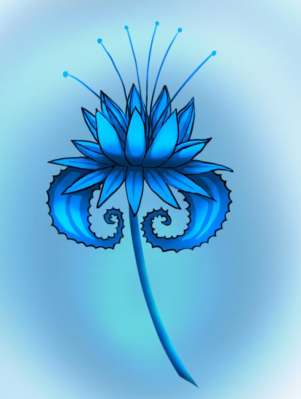 Blue dragonflower by Sferath