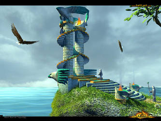 3D Temple of Blue Eagle by halil-art