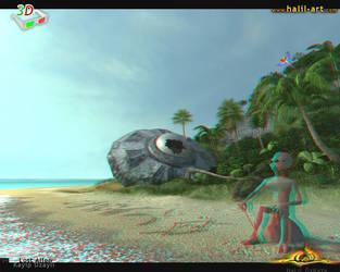 Lost Alien '3D anaglyph' by halil-art