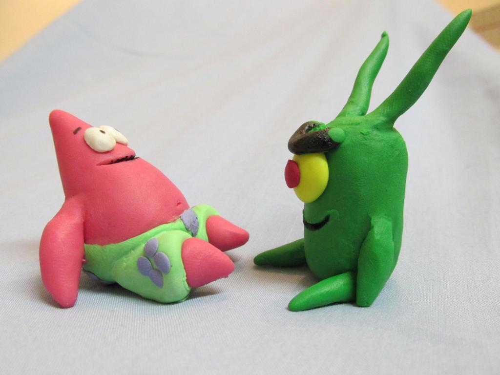 Patrick and Plankton figures
