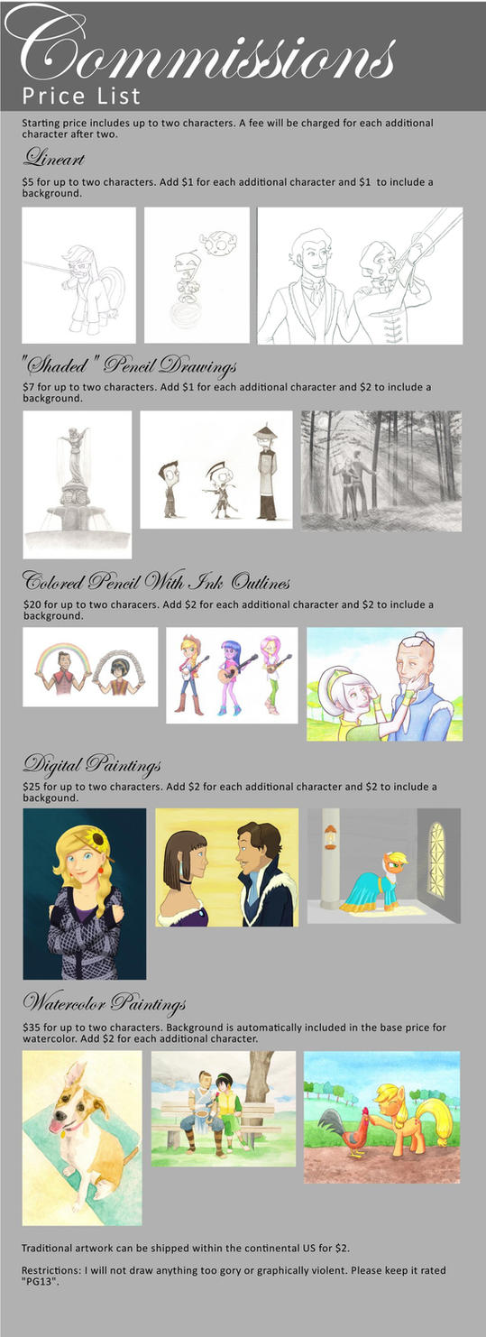 Commissions Price List (Updated) by Maran-Zelde